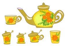 Fiore dell'insieme di tè royalty illustrazione gratis