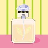 Fiore dell'oro della bottiglia di profumo di fragranza Fotografia Stock