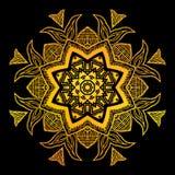 Fiore dell'oro sopra fondo nero Fotografia Stock Libera da Diritti