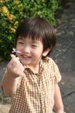 Fiore della holding del ragazzo Fotografia Stock