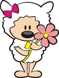 Fiore della holding delle pecore Immagini Stock