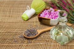 Fiore della lavanda con la raccolta della stazione termale Immagine Stock