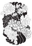 Fiore della peonia e tatuaggio rosa sul fondo dell'onda e della nuvola Stile giapponese disegnato a mano del tatuaggio Immagine Stock