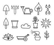 Fiore della raccolta dell'icona del profilo ed illustrazione di giardinaggio Immagini Stock Libere da Diritti