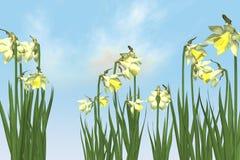 Fiore della sorgente nel cielo. royalty illustrazione gratis