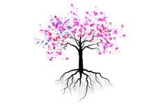 Fiore di ciliegia con delle radici progettazione dell'acquerello nel sottosuolo, vettore illustrazione di stock