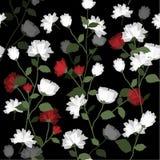 Fiore di fioritura con le foglie sul nero royalty illustrazione gratis