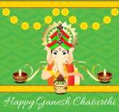 Fiore di Ganesh Chaturthi Celebration Background With Fotografie Stock Libere da Diritti