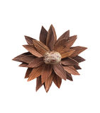 Fiore di legno artistico Idea del mestiere e del collage immagini stock