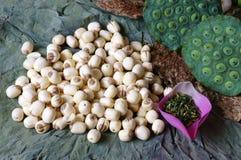 Fiore di loto della raccolta, seme, tè, alimento sano Fotografie Stock Libere da Diritti