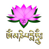 Fiore di loto, simbolo del OM e mantra Immagini Stock