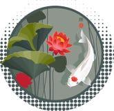Fiore di Lotus e della carpa a specchi Fotografia Stock Libera da Diritti
