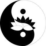 Fiore di Lotus nel simbolo di Yin Yang in bianco e nero Immagine Stock