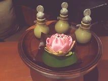 Fiore di Lotus nel tempo della stazione termale immagine stock