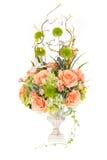 Fiore di plastica artificiale della decorazione con il vaso d'annata di progettazione, 2 Immagini Stock