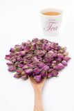 Fiore di Rosa con una tazza di tè Fotografie Stock