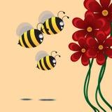 Fiore di rosso dello sciame di tre api Illustrazione di vettore Immagine Stock