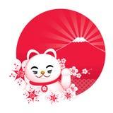Fiore di Sakura con il gatto fortunato giapponese e royalty illustrazione gratis