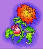 Fiore di stile del tatuaggio Fotografia Stock Libera da Diritti