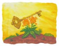 Fiore e chiave dorata (2004) Immagini Stock Libere da Diritti