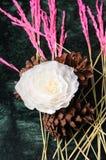 Fiore e coni di plastica del pino fotografia stock