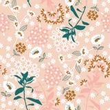 Fiore e foglia di fioritura densi geometrici pastelli dolci nel dar illustrazione vettoriale