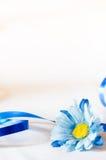 Fiore e nastro di seta blu Fotografia Stock Libera da Diritti