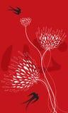 Fiore e swallows su colore rosso illustrazione vettoriale