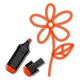 Fiore ed indicatore arancio Fotografia Stock