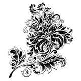 Fiore etnico in bianco e nero con il modello fotografia stock libera da diritti