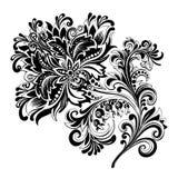 Fiore etnico in bianco e nero con il modello immagine stock