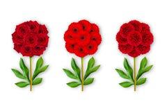 Fiore fantastico tre su un fondo bianco La composizione delle rose rosse, delle gerbere e delle peonie Oggetto di arte minimalism fotografie stock libere da diritti