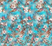 Fiore floreale senza cuciture con la farfalla fotografia stock libera da diritti