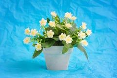 Fiore giallo-chiaro artificiale della primula (primaverina) in un vaso da fiori ceramico Immagini Stock