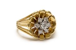 Fiore Goldring del diamante Fotografia Stock