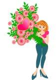 Fiore grazioso della holding della donna Immagini Stock Libere da Diritti