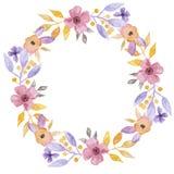 Fiore grazioso Garland Floral Wreath dipinto a mano dell'acquerello Fotografia Stock