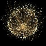 Fiore leggero dell'oro di effetto del tracciato di raggi con la linea del neon dell'oro illustrazione di stock