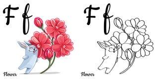 Fiore Lettera F, pagina di coloritura di alfabeto di vettore Illustrazione Vettoriale