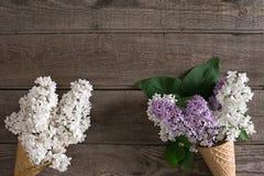 Fiore lilla su fondo di legno rustico con spazio vuoto per il messaggio accogliente Vista superiore Immagini Stock Libere da Diritti