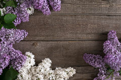 Fiore lilla su fondo di legno rustico con spazio vuoto per il messaggio accogliente Vista superiore Fotografia Stock
