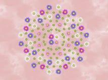 Fiore Mandala Canvas Painting Illustration floreale dell'aster dell'acquerello illustrazione di stock