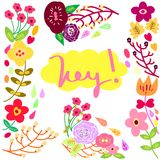 Fiore messo con tipografia Fotografia Stock
