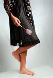 Fiore nero di colore rosa del vestito Immagine Stock