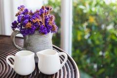 Fiore porpora secco in vaso Fotografie Stock