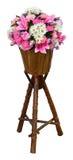 Fiore in POT di legno Immagini Stock