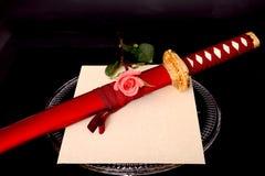Fiore Quill Parchment Sword Immagini Stock