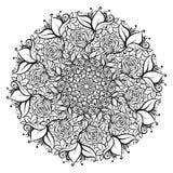 Fiore rosa decorato disegnato a mano nella corona delle foglie e dei turbinii Illustrazione isolata di vettore Elemento dell'invi Immagini Stock Libere da Diritti