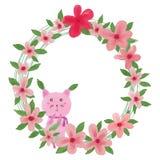 Fiore rosa della foglia del gatto Fotografia Stock Libera da Diritti