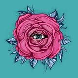 Fiore rosa di Rosa del tatuaggio con l'occhio su fondo blu Progettazione del tatuaggio, simbolo mistico Nuovo dotwork della scuol Fotografie Stock Libere da Diritti